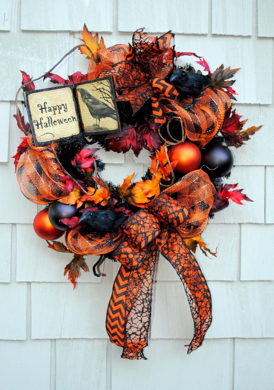 Elegant black and orange Halloween wreaths for front door