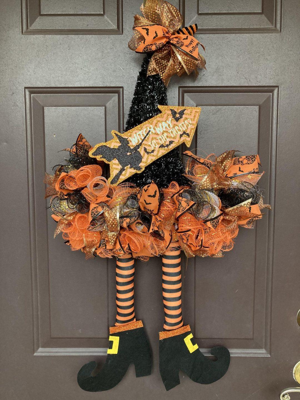 Black and orange witch wreaths