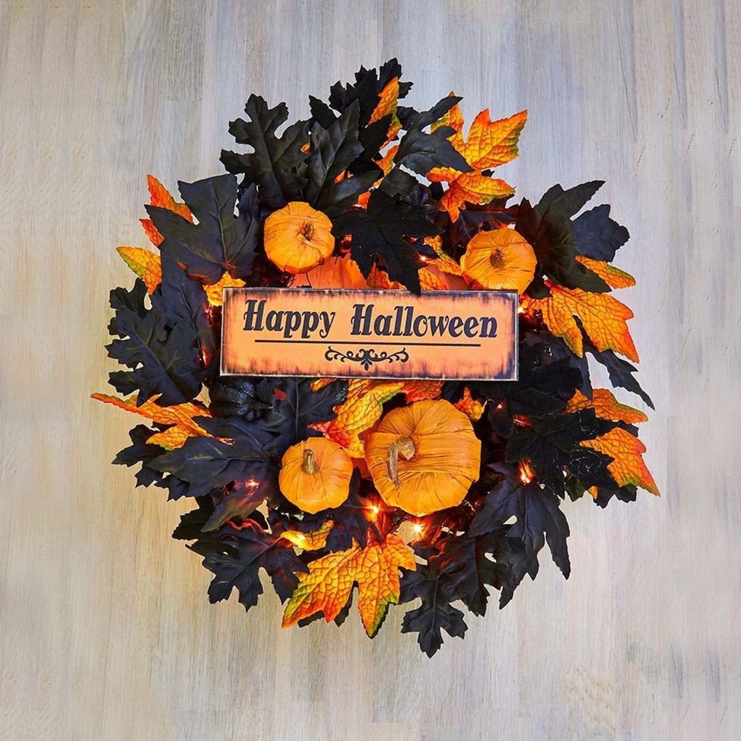 Small black and orange Halloween wreaths