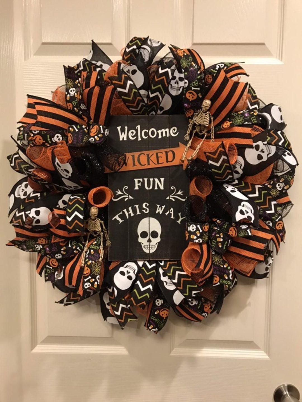 Orange and black Halloween wreaths with skull