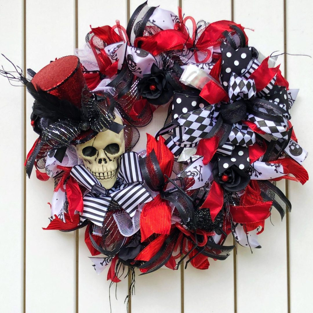 White, black and red skull wreath - Halloween wreaths for front door