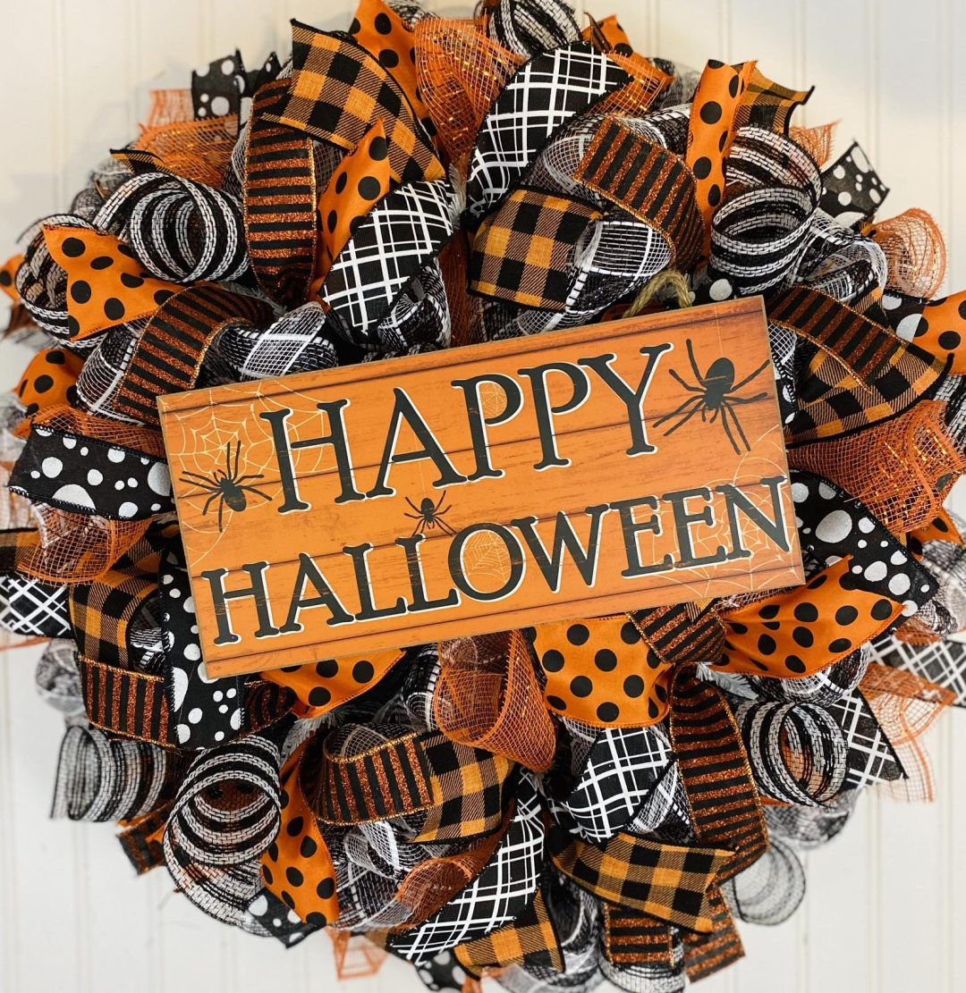 Orange deco mesh Halloween wreaths