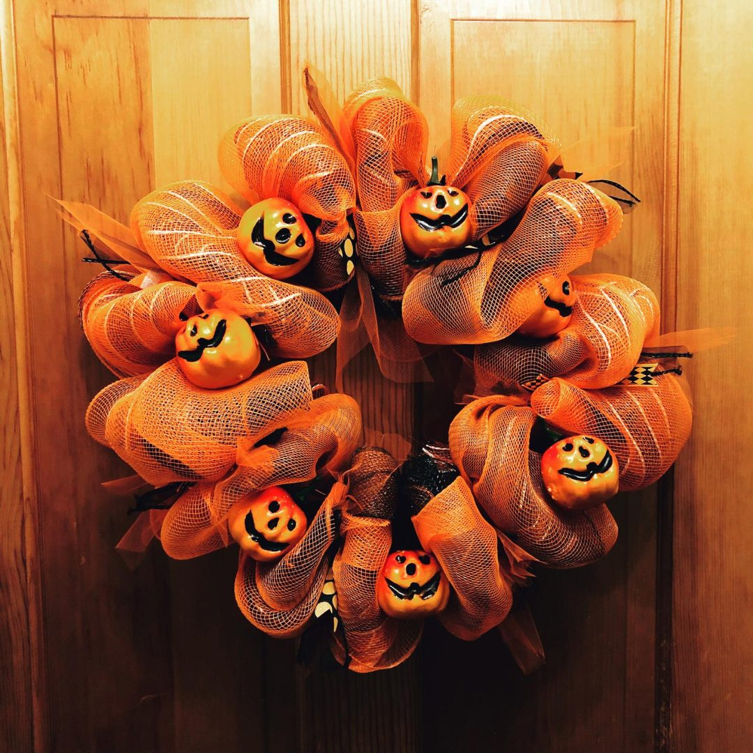 Orange deco mesh Halloween wreaths with pumpkins