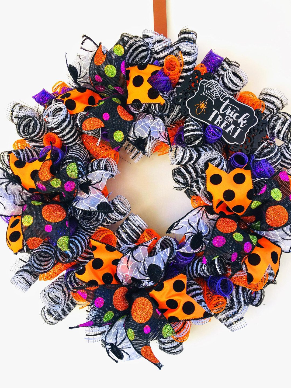 Purple and orange deco mesh Halloween wreaths