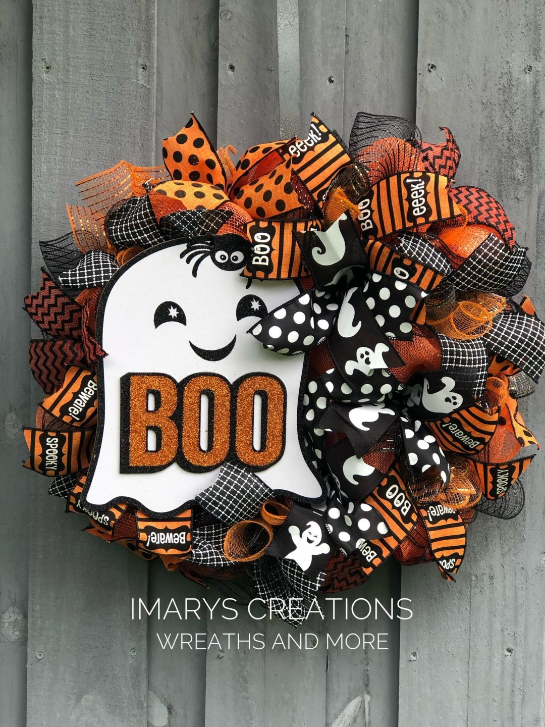 Cute ghost Halloween wreaths with deco mesh