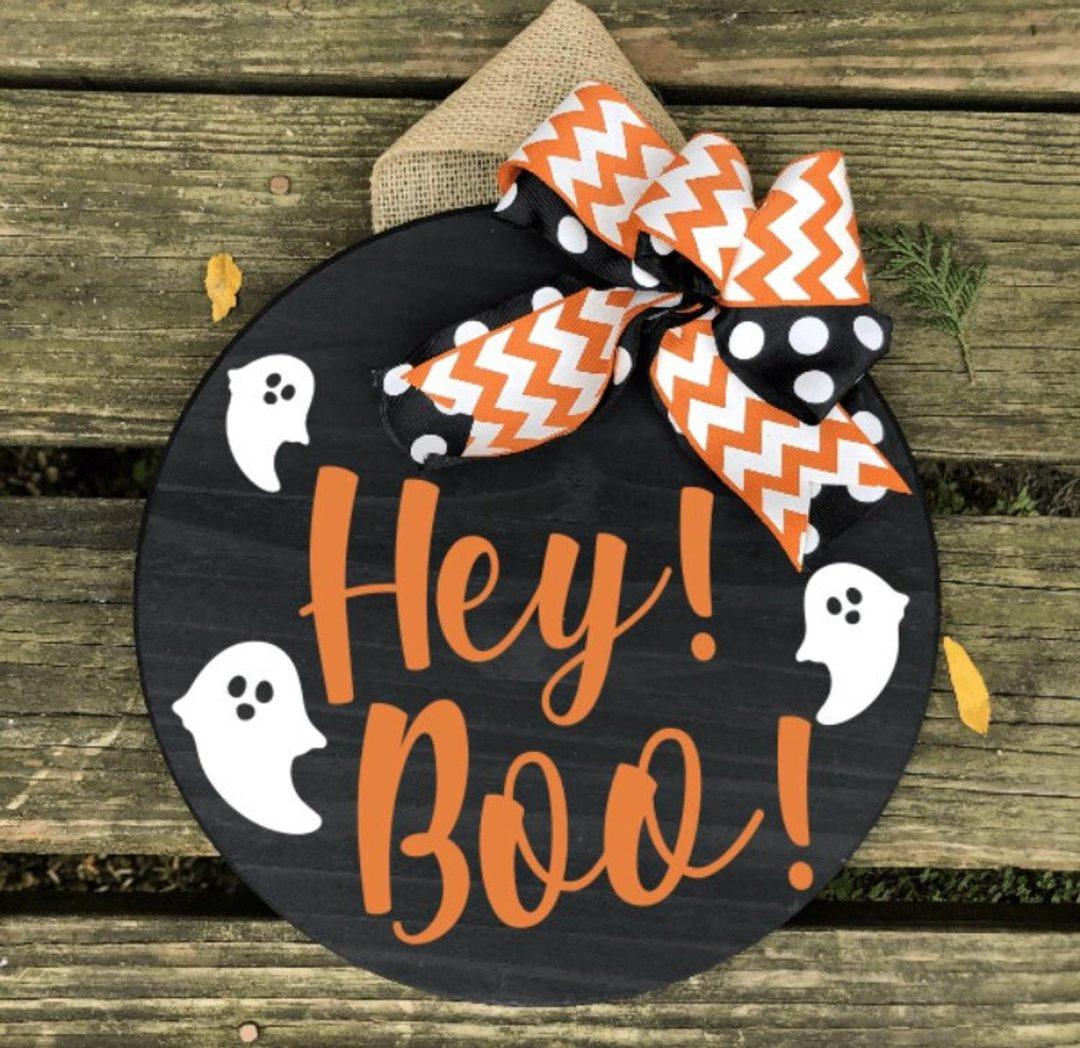 Cute wooden Halloween door sign