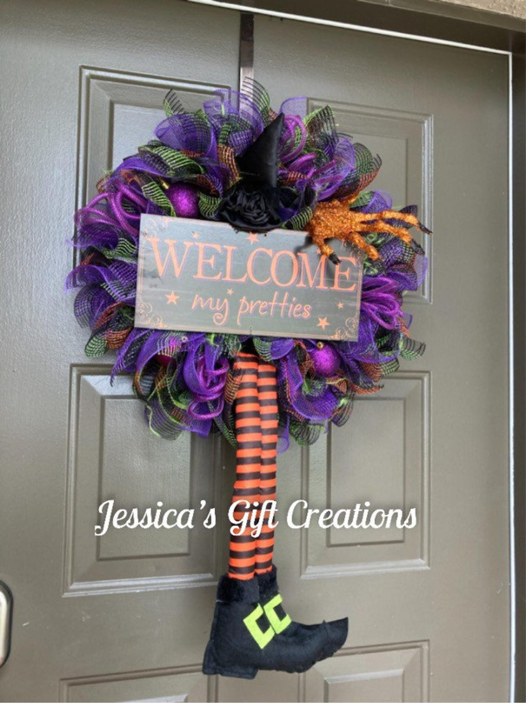 Purple and orange witch wreaths for front door