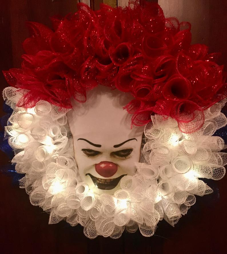 Scary Pennywise wreath - Scary Halloween wreaths