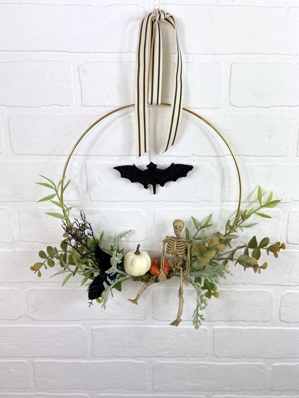 Elegant modern hoop Halloween wreaths