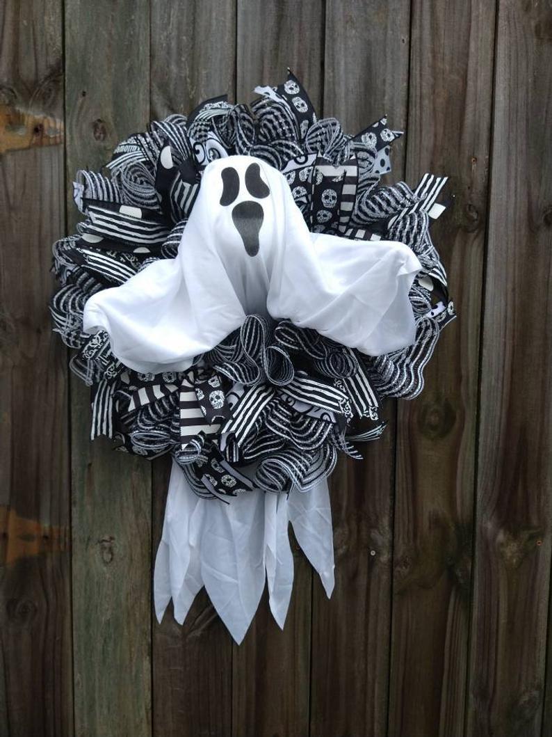 Scary ghost Halloween wreaths