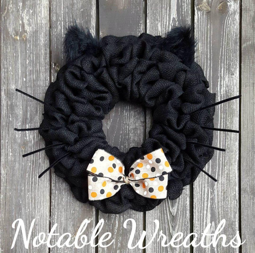 Black cat wreath - cute black deco mesh Halloween wreath