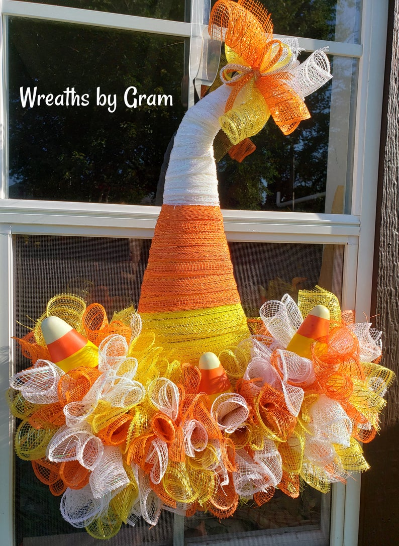 Witch's hat candy corn wreath in deco mesh