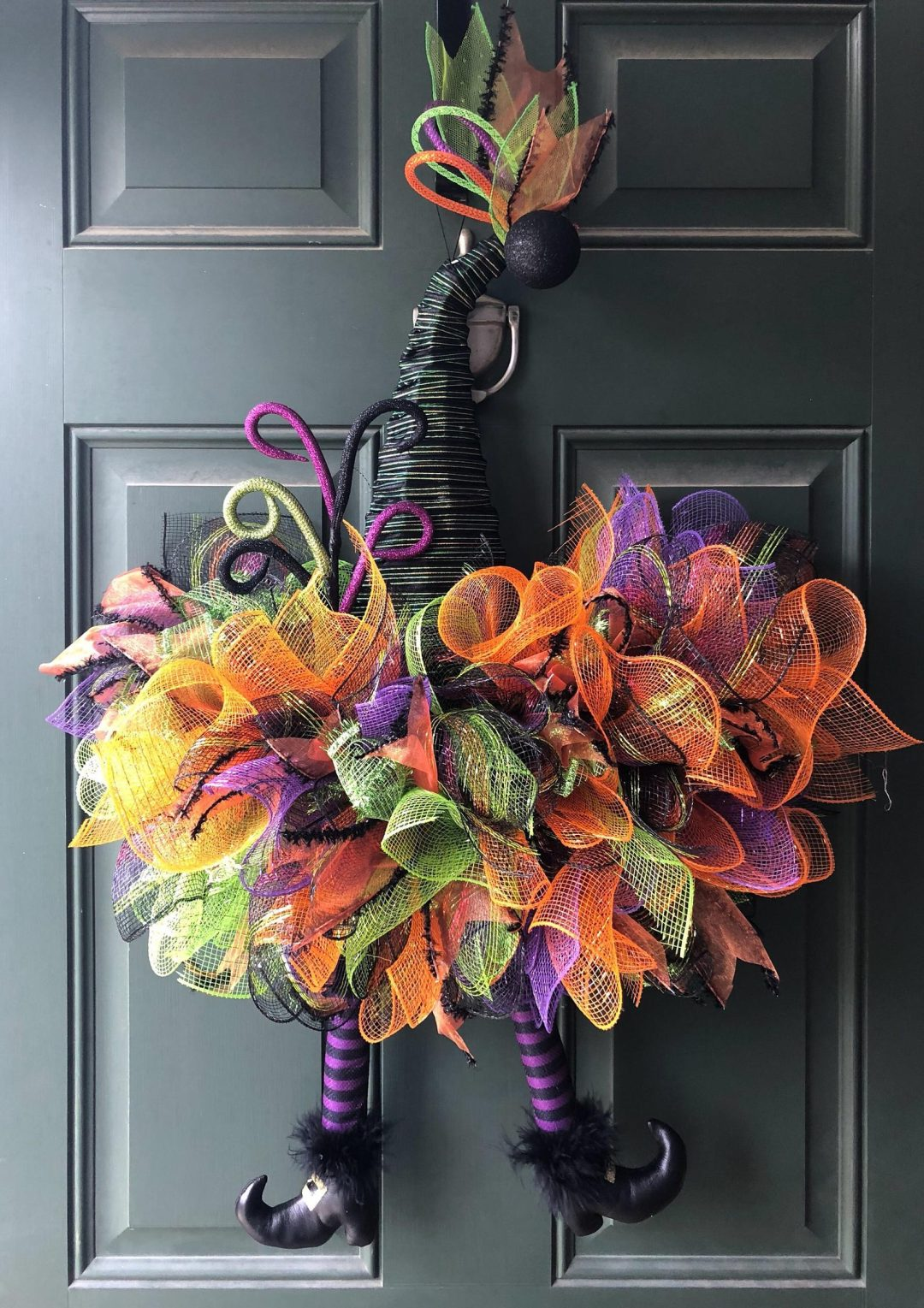 Deco mesh witch wreath for Halloween