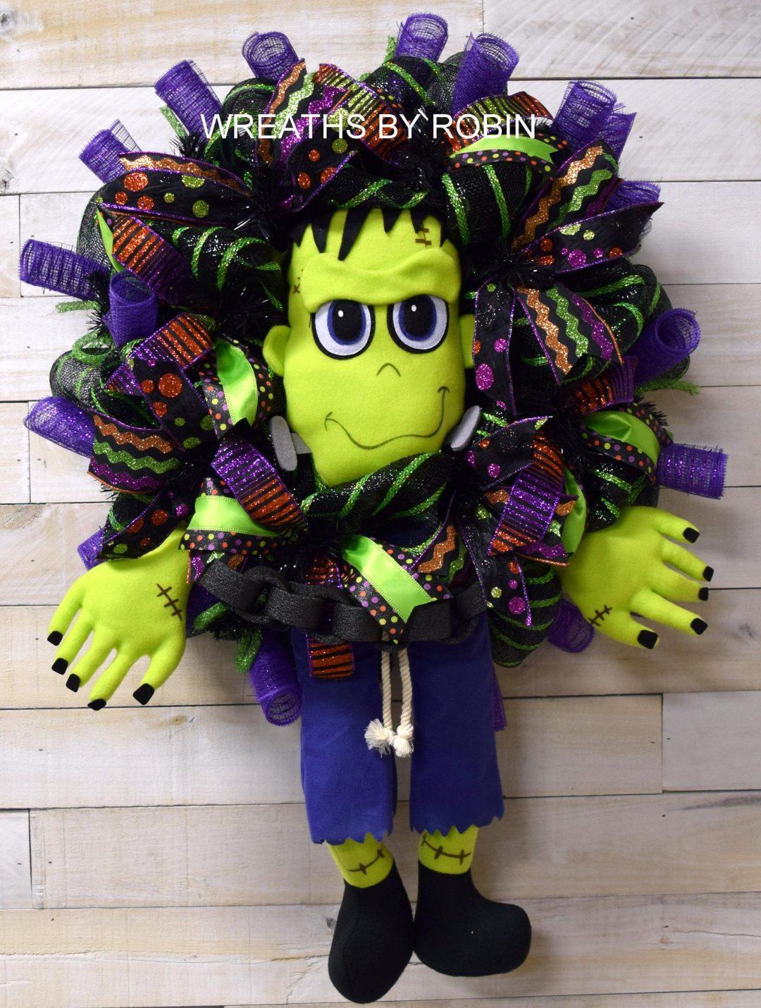 Purple and green Frankenstein wreath