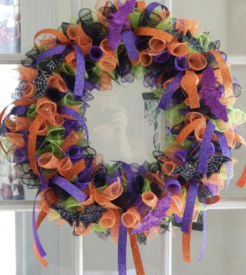 Purple, green and orange deco mesh Halloween wreaths