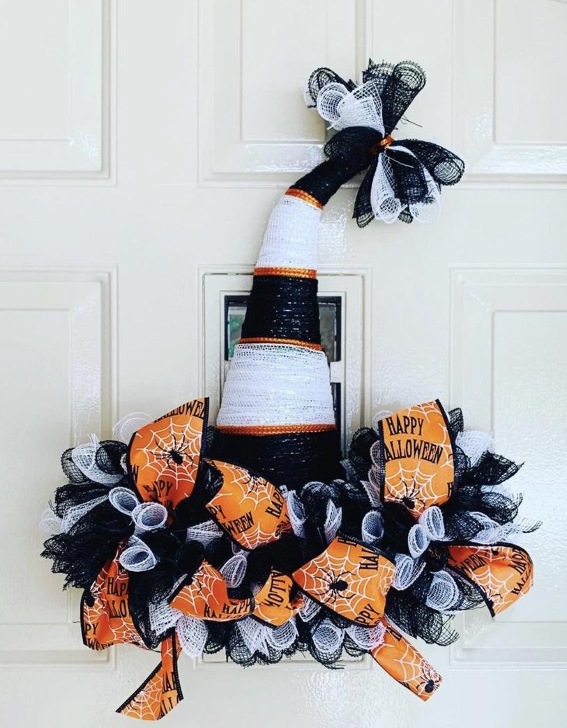 Black, white and orange witch wreaths, deco mesh Halloween wreaths