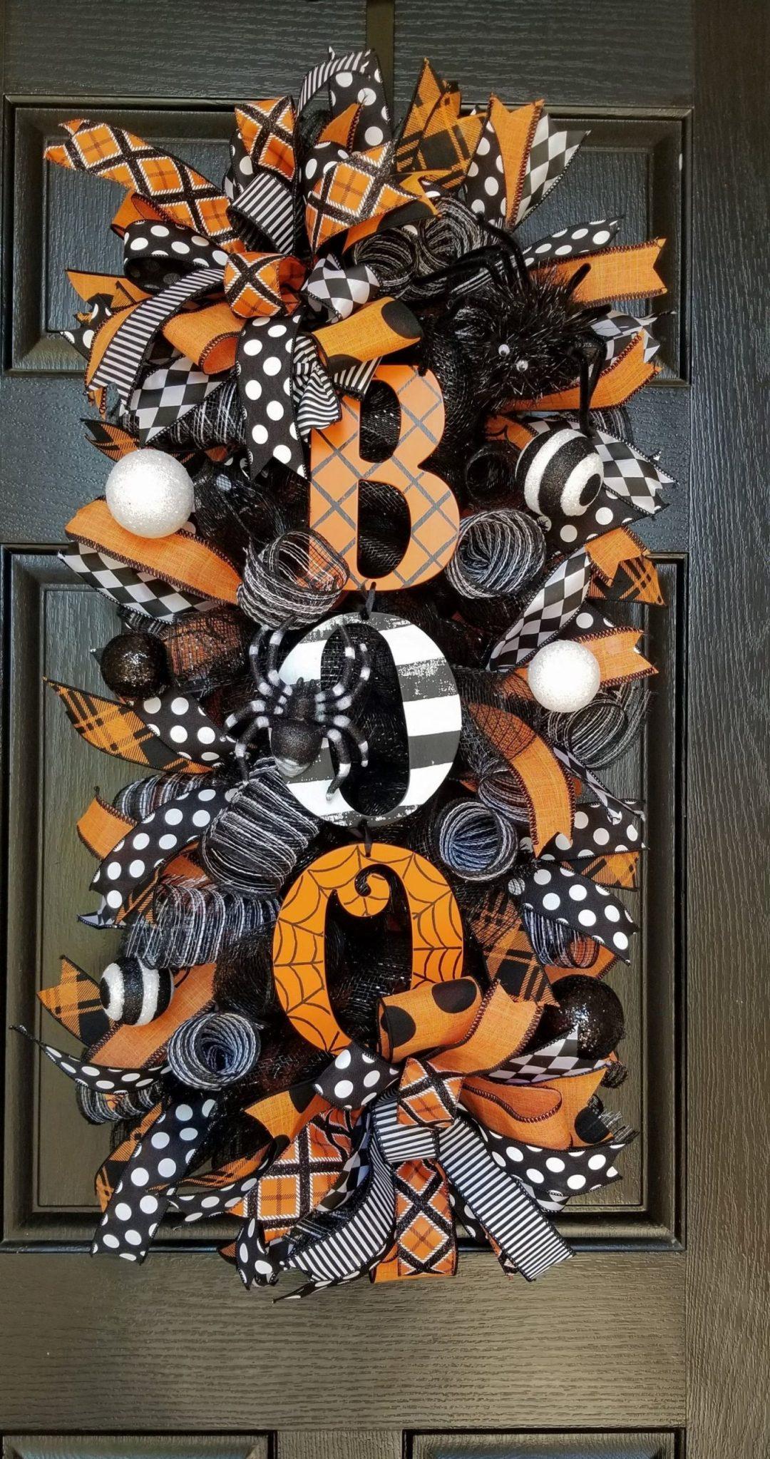 Black and orange BOO Halloween wreath for front door