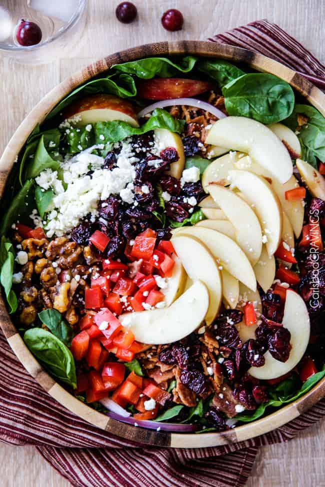 Best keto Thanksgiving recipes: Apple Cranberry Bacon Candied Walnut Salad