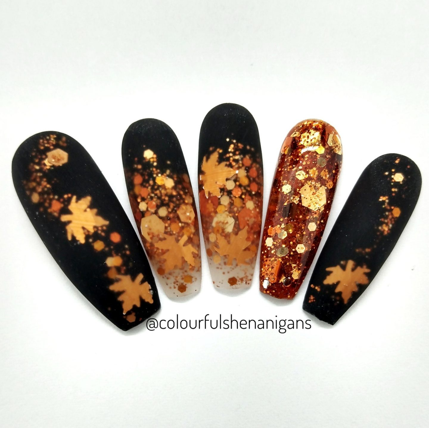 Matte black Thanksgiving press on nails with gold and fall foliage leaves