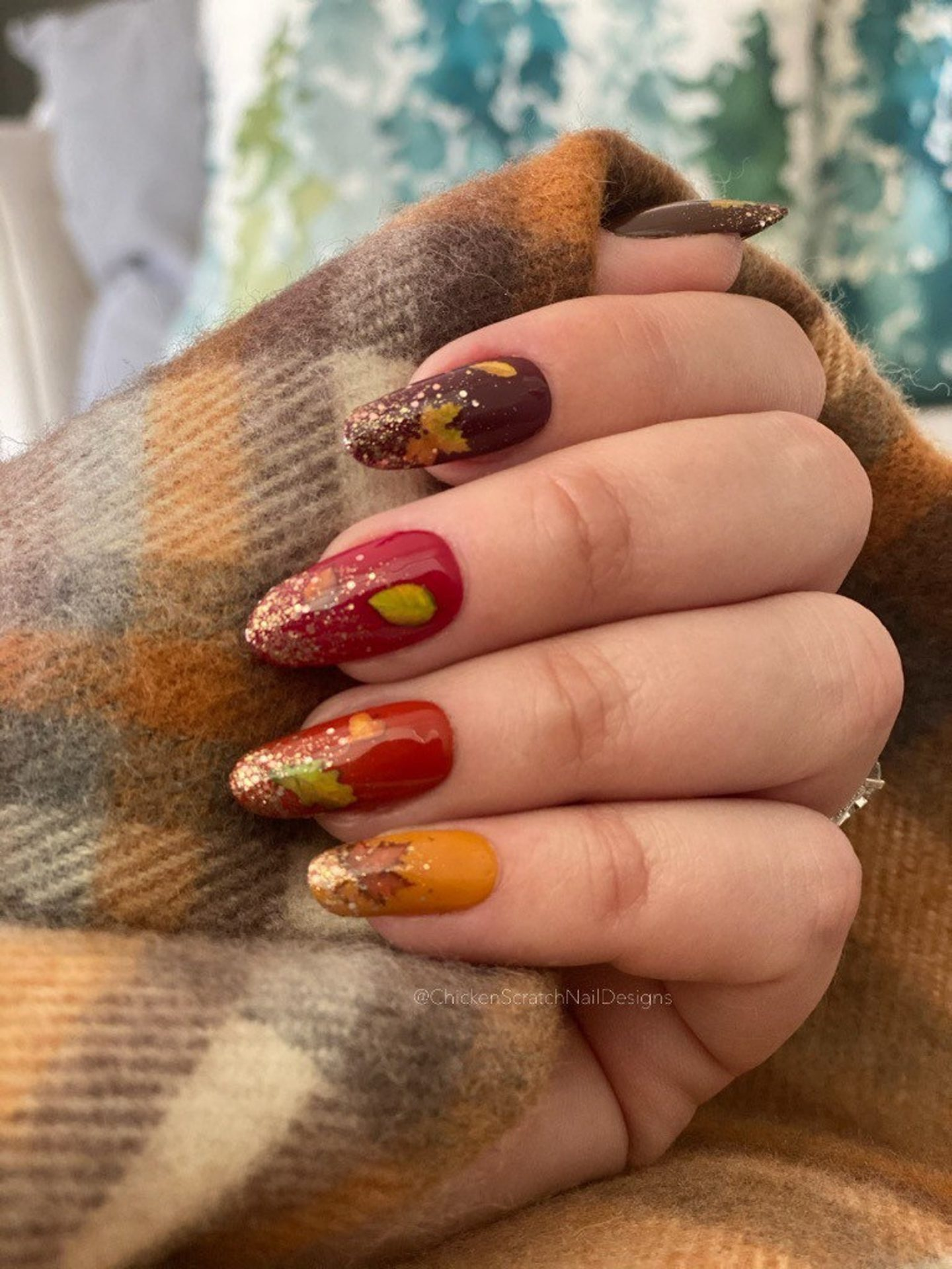 Fall Ombre Nails With Gold glitter and maple leaf nail art