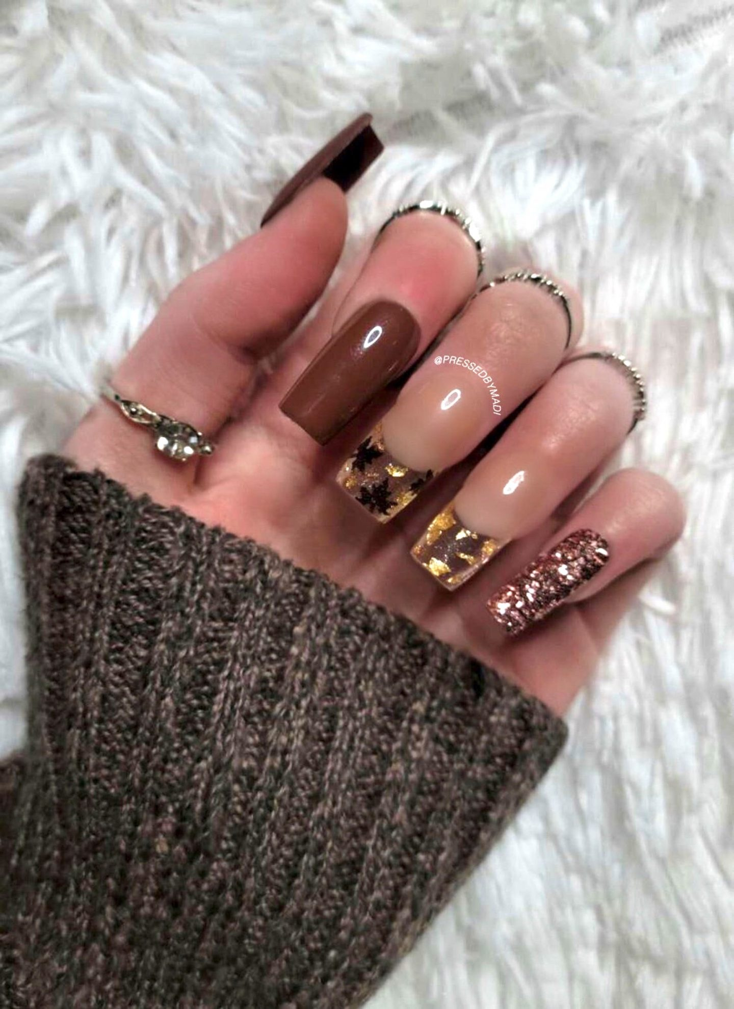 Brown Thanksgiving nails with glitter French tip nails