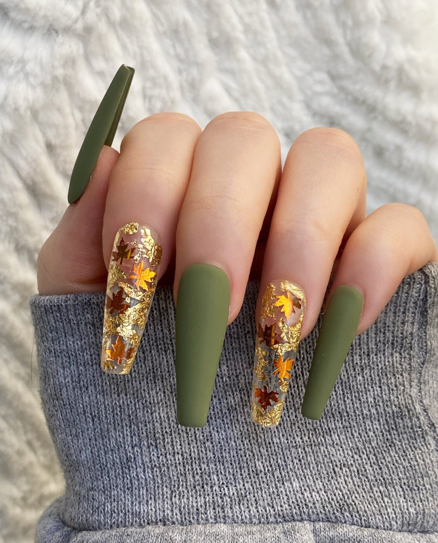 Matte sage Thanksgiving nails with fall foliage