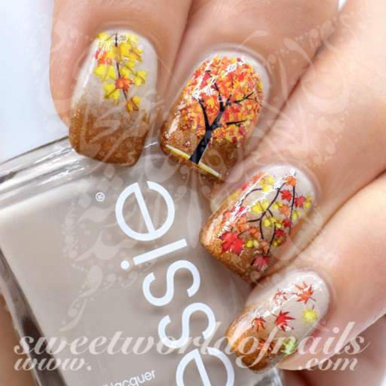 Fall tree and foliage nail art