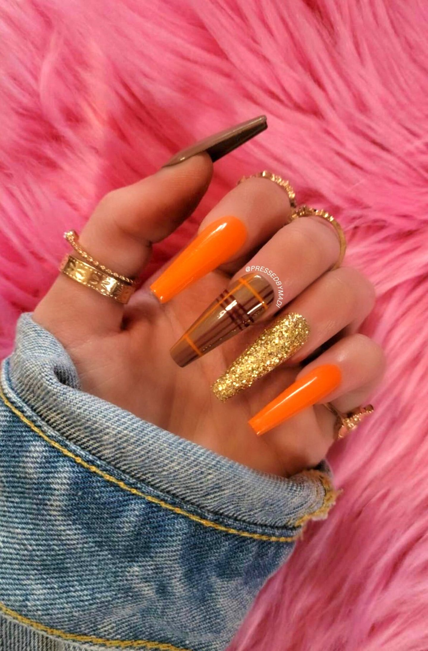 Long coffin fall nails with browns, orange and gold glitter