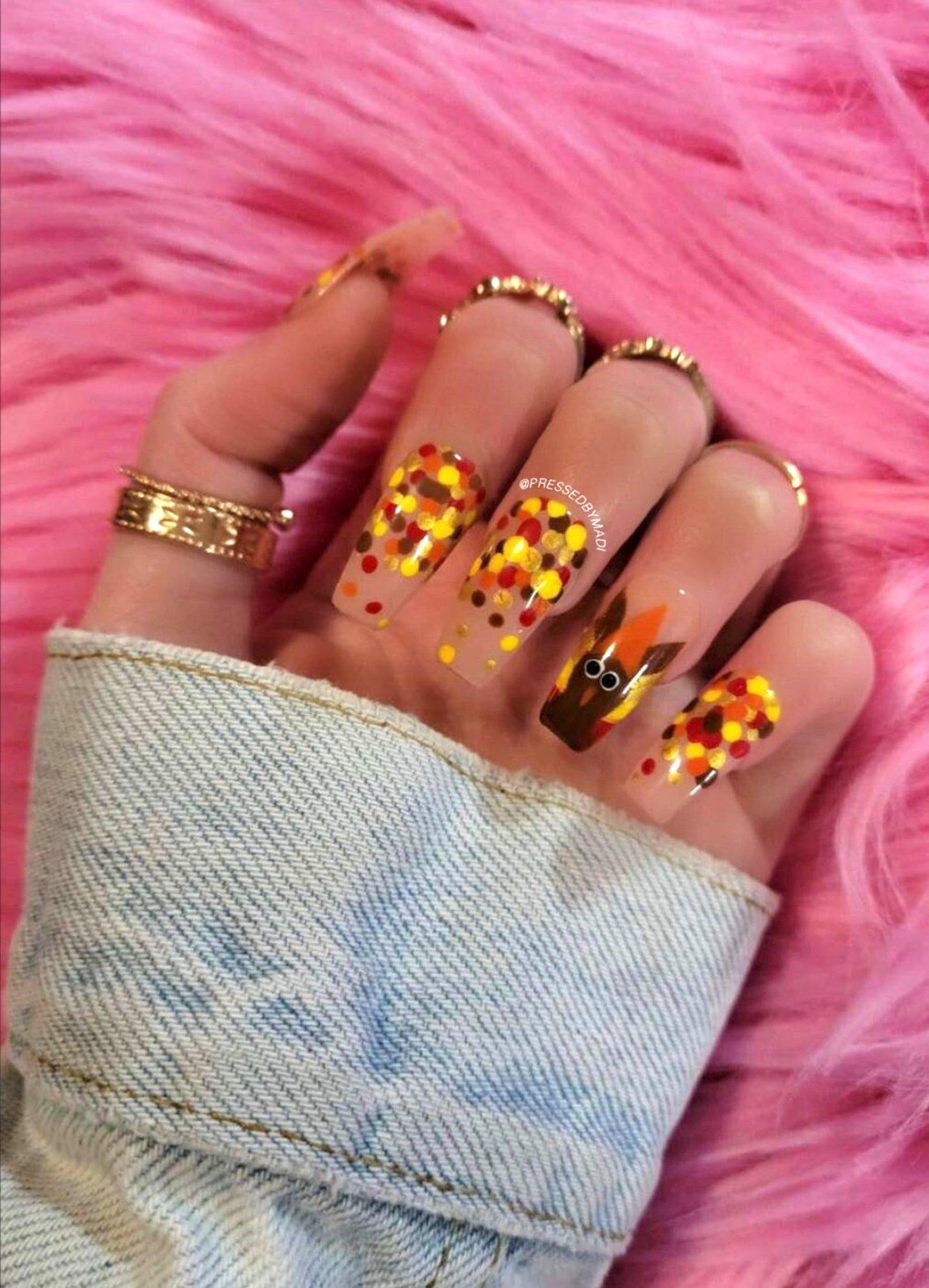 Long Thanksgiving nails with Turkey & Polka Dot nail art