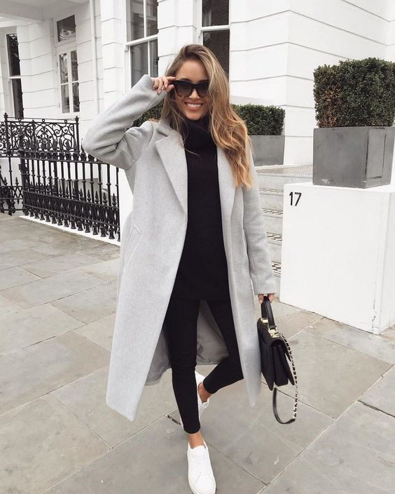 Gray coat outfits