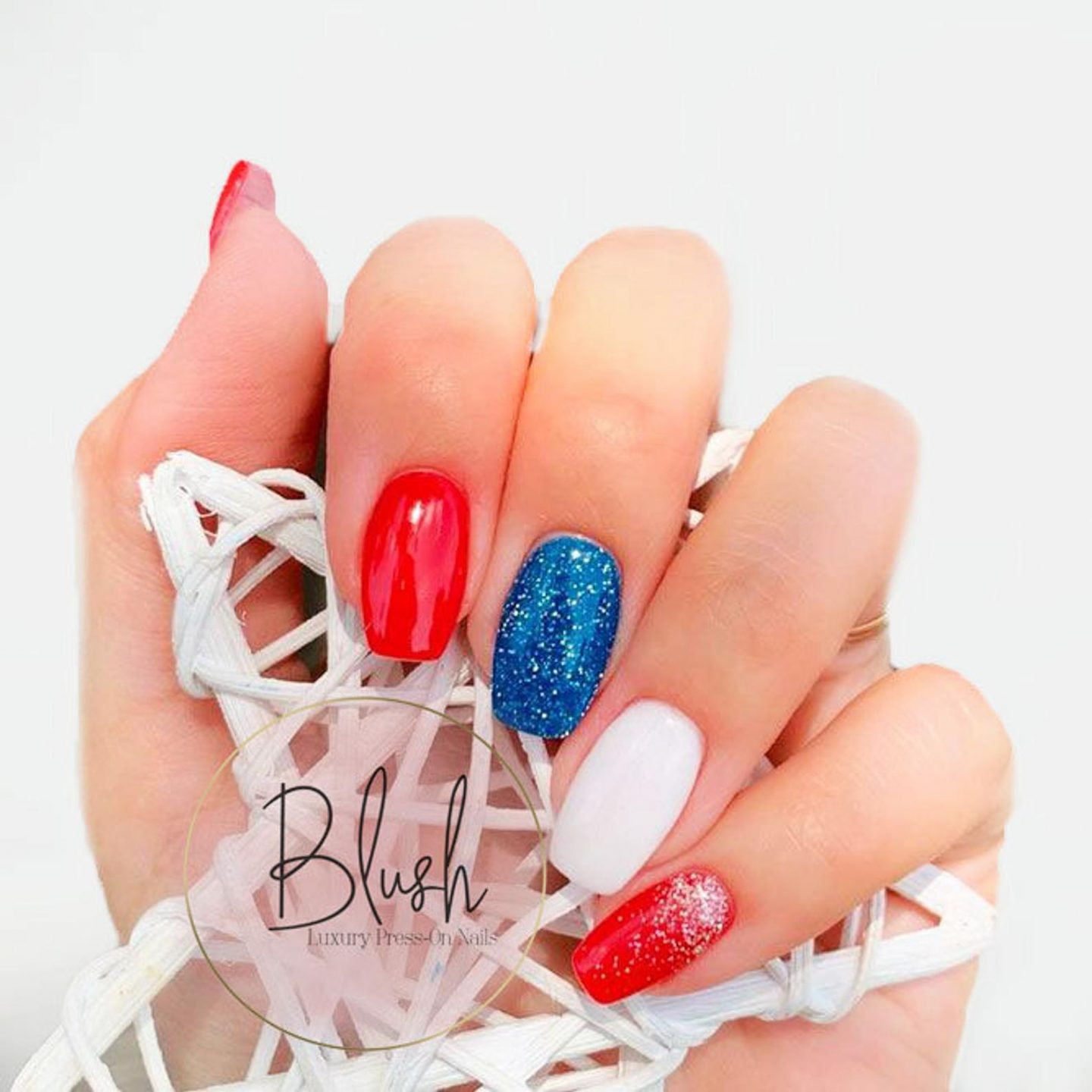 Red, blue and white press on nails for Independence Day