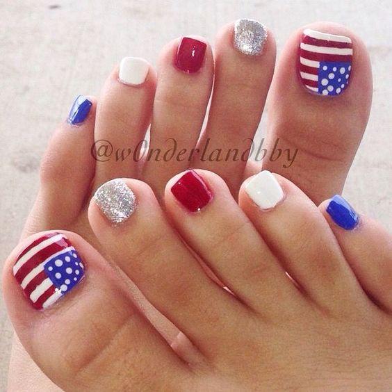 4th of July toe nail art ideas