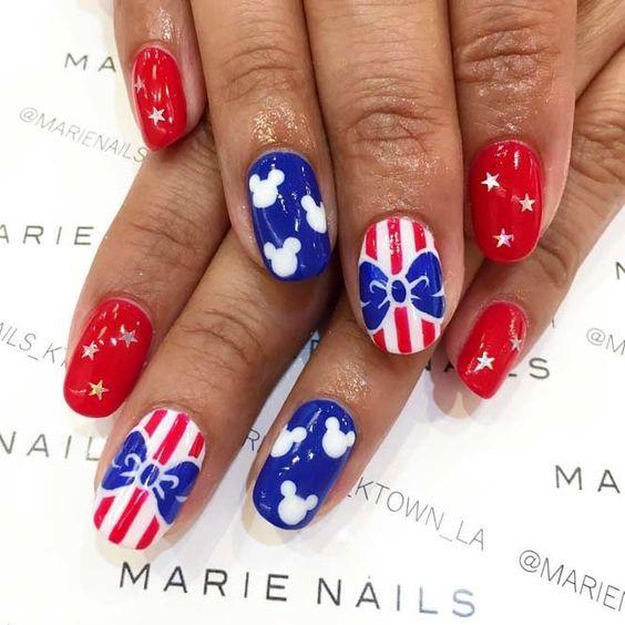 Cute Disney themed patriotic nails