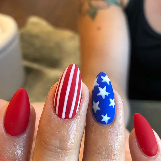 Cute red and blue 4th of July nails