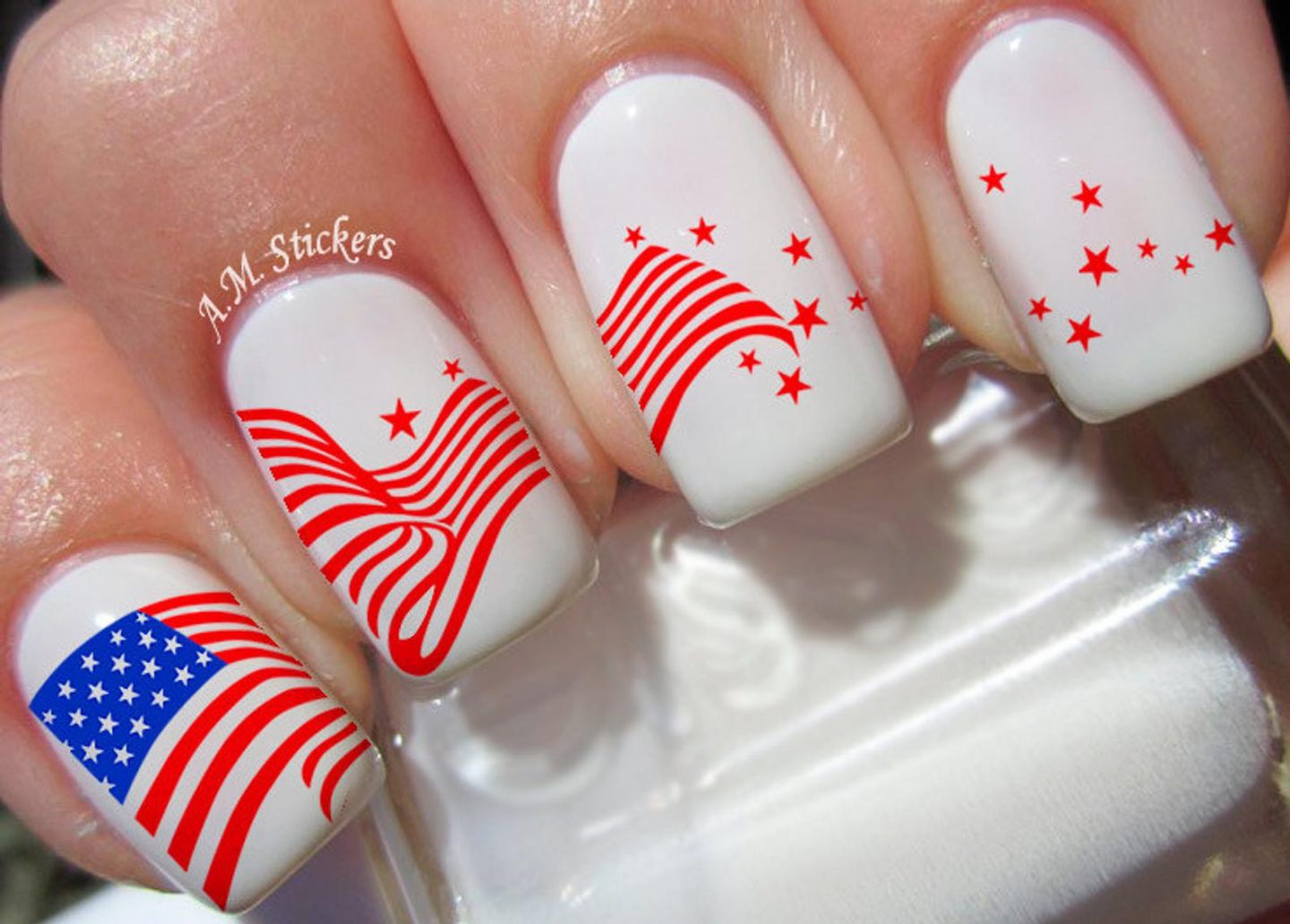 White 4th of July nail decals with American flag