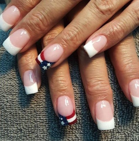 Cute French tip nails with USA flag