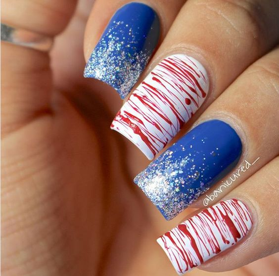 Simple red, white and blue nail art