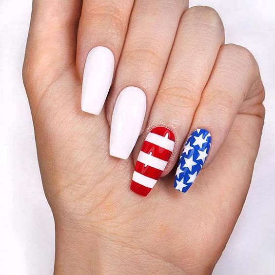 White, red and blue 4th of July nails