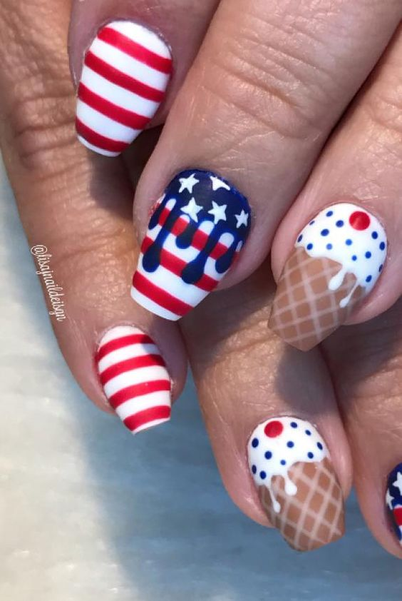 Cute short 4th of July nails with ice cream