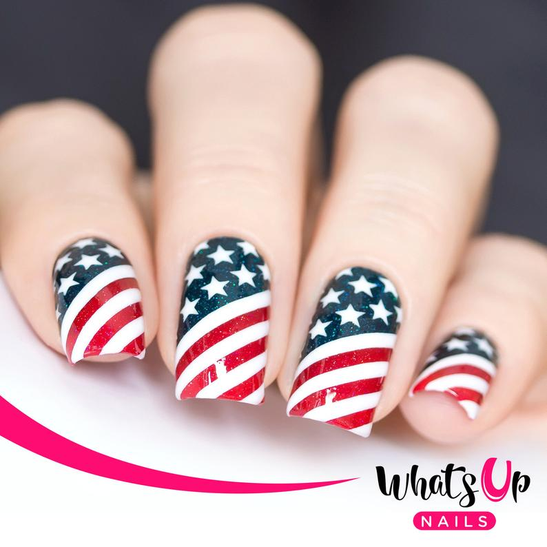Cute short 4th of July nail wraps