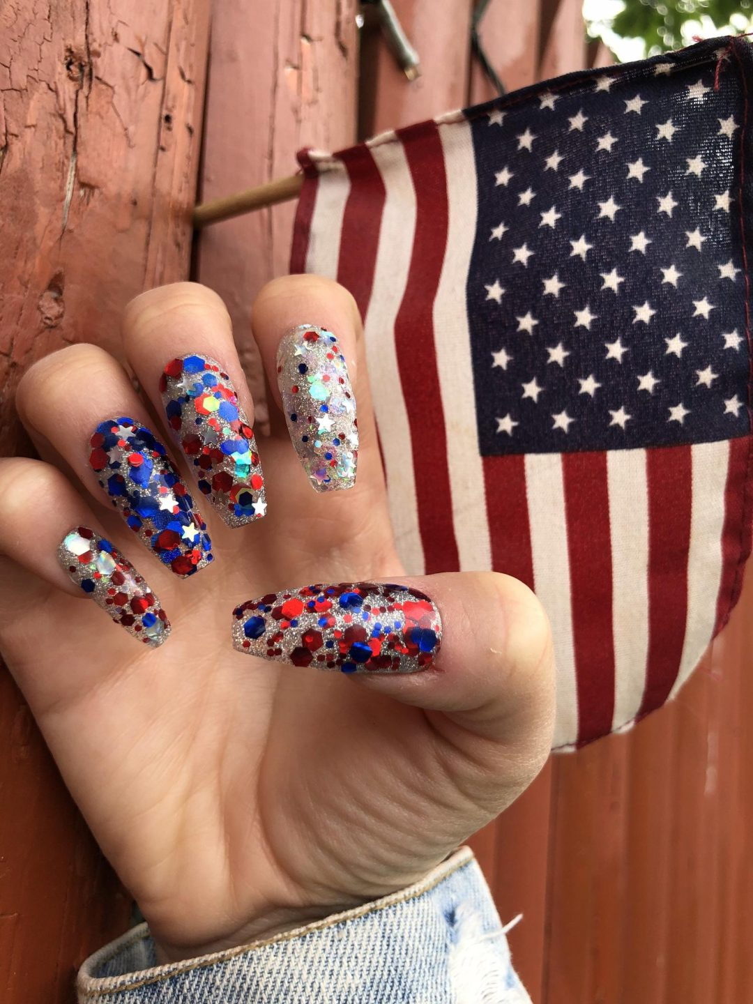 Cute long 4th of July coffin nails with glitter