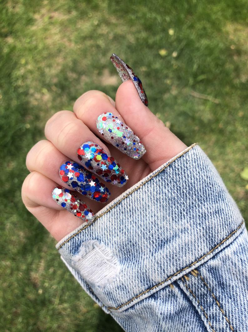 Long glitter 4th of July coffin nails