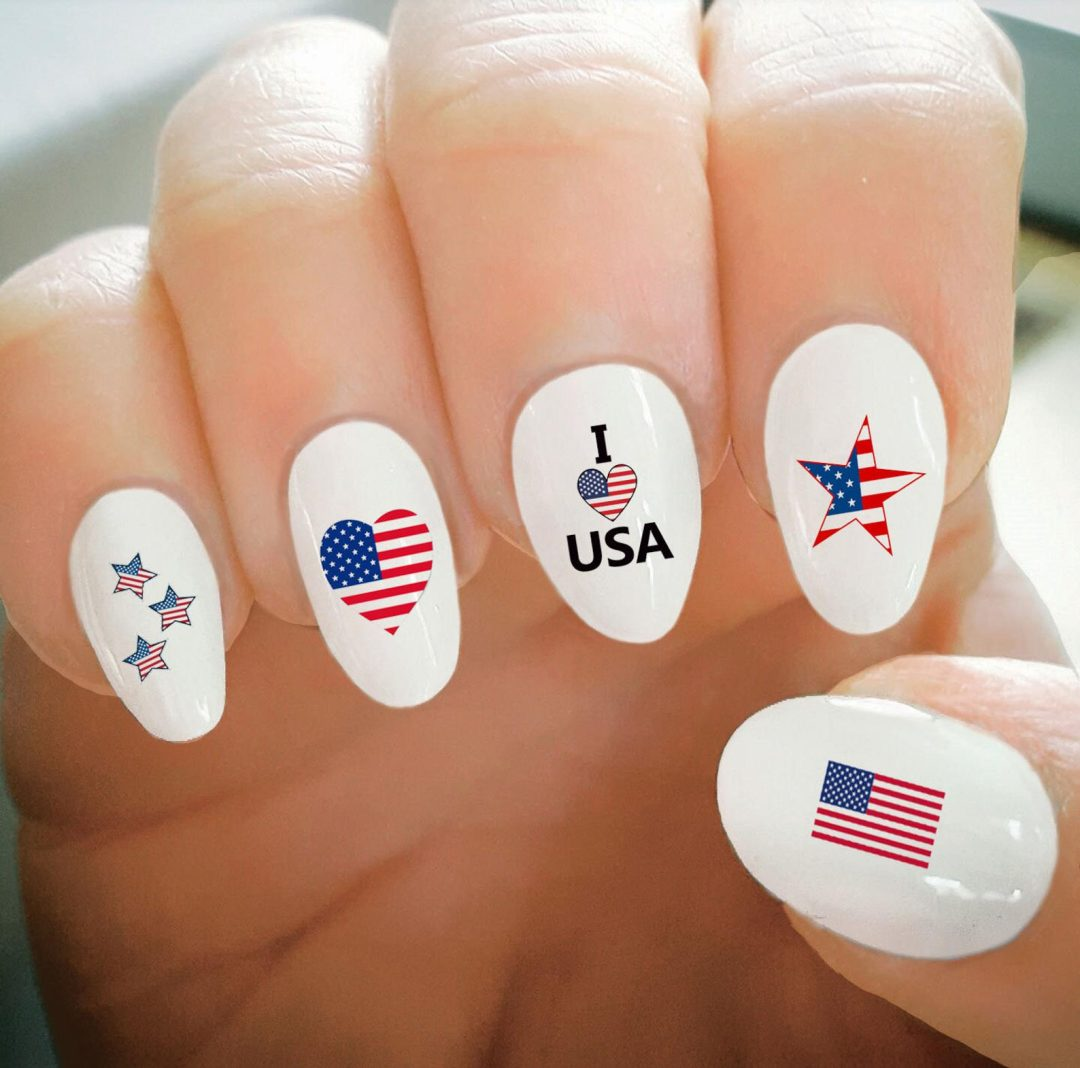 White 4th of July nails with stickers
