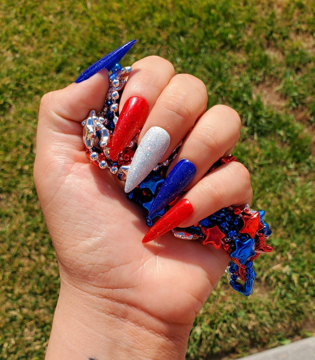 Red, white and blue Independence Nails in stiletto shape