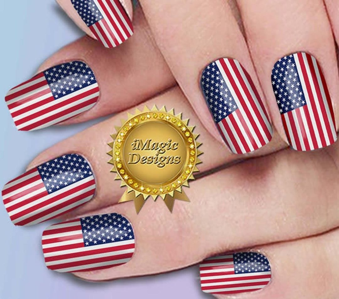 Cute US flag nail wraps and stickers - 4th of July nails