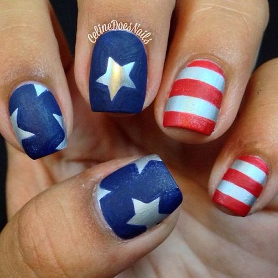 Cute short 4th of July nails with USA flag and stars