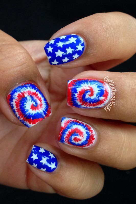 White, red and blue tie dye nail art with stars