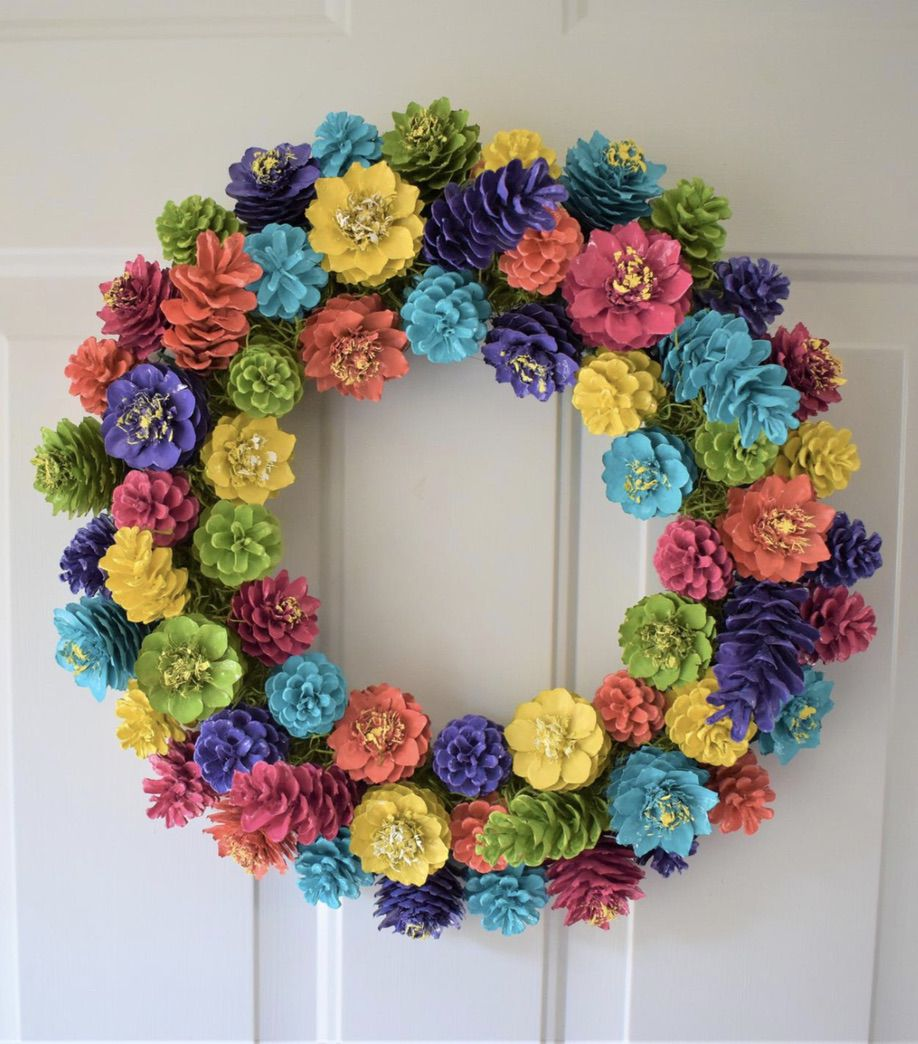 Colorful pinecone wreaths