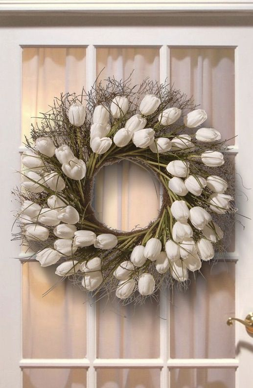 Beautiful white tulip wreaths, white summer wreaths for front door