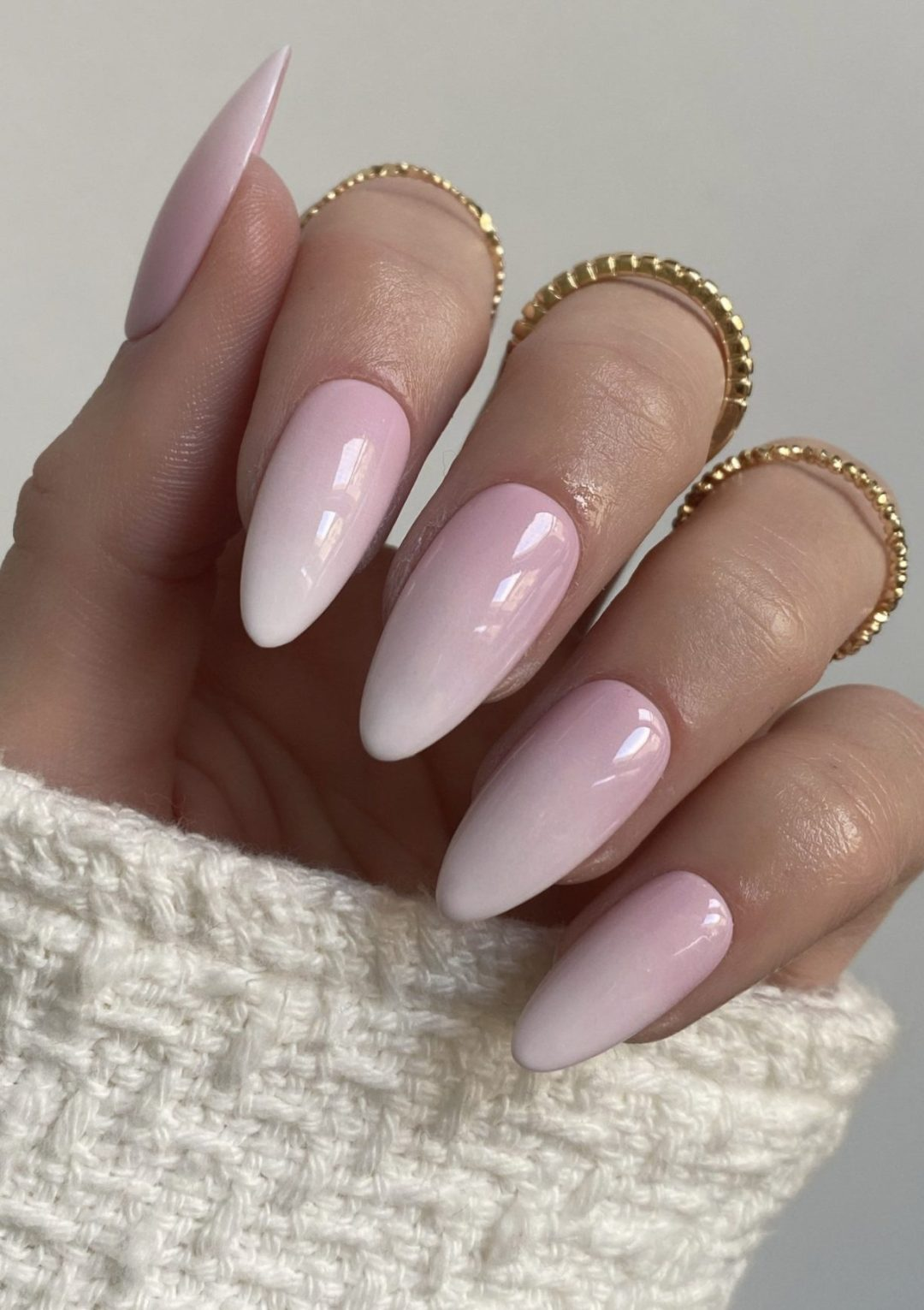 White and pink French tip ombre nails